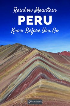 10 tips for hiking to Rainbow Mountain in Peru. Virtually undiscovered until this natural creation is a must visit while in South America. A mecca for those traveling in Cusco and the Andes Mountains, here's everything you need to know! Bolivia Travel, Peru Travel, Hawaii Travel, Italy Travel, Family Travel, Family Vacations, Adventure Travel, Adventure Awaits, Beaches In The World