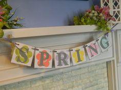 Spring / Easter Garland Spring /Easter Decor Easter Banner Spring garland  Easter Decor Springtime Decorations Photo Prop