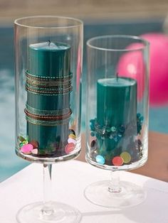 DIY Candles w/beads and sequin filler by Jenifer Crandell