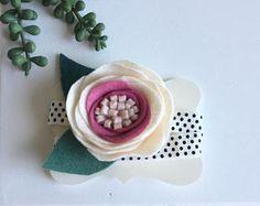 Fieltro flor diadema cinta color de rosa caliente rosa