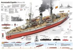 España was a Spanish dreadnought battleship, the lead ship of her class. She had two sister ships, Alfonso XIII and Jaime I. España was built by the SECN shipyard; she was laid down in December launched in February and completed in October Naval History, Military History, Bbs, Spanish Armada, New Aircraft, Capital Ship, Classic Sailing, Navy Ships, Aircraft Carrier
