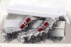 gray tulle black white lace wedding garter set - Handmade_by_Donna - Podwiązki