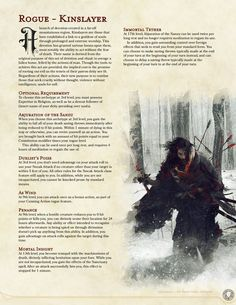Kinslayer ~ Rogue Subclass with divine affiliations and Sekiro-esque revivification Dungeons And Dragons Rogue, Dungeons And Dragons Classes, Dungeons And Dragons Homebrew, Dungeons And Dragons Characters, Dnd Characters, Rogue Archetypes, Fantasy Character Design, Character Ideas, Dnd Races