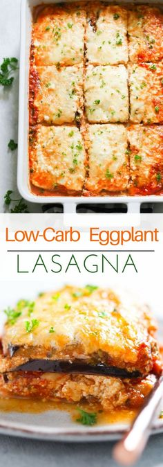 Low-Carb Eggplant Lasagna - This Low-Carb Eggplant Lasagna recipe is made with eggplant slices, which makes it perfect for those who are following a low-carb and gluten-free diet. It's absolutely delicious too!