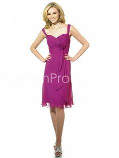 Faddish Flowers Pleats A-Line Sweetheart Neckline Knee-Length Bridesmaid Dresses