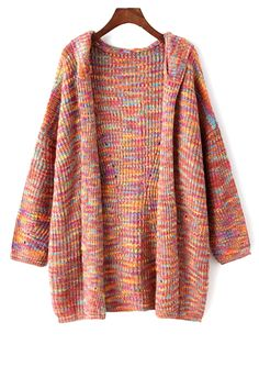 Colored Hooded Long Sleeve Cardigan