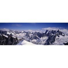 High angle view of a mountain range Mt Blanc The Alps France Canvas Art - Panoramic Images (36 x 12)