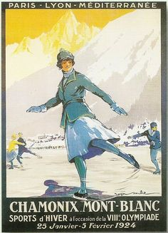 Vintage ice skating poster