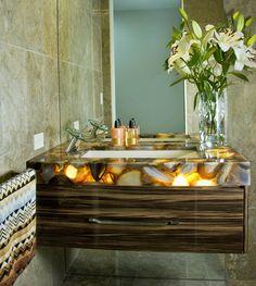 Toni Packer Design Caesarstone Brown Agate Backlit Luxury Bathroom Vanity