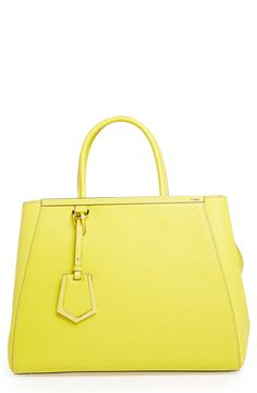 Bright and chic. Love this neon Fendi leather shopper.