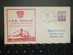 USS MACOMB DD-458 Naval Cover 1942 WWII CZUBAY Thermo COMMISSIONED Cachet FDC