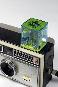 Vintage KODAK Instamatic camera with Big old GE flash cube.