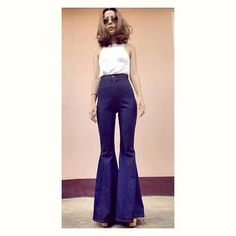 2e585bd32057 Women s High Waisted Flared Bell Bottoms Jeans Vintage 70s  Style Bohemian Hippie pants Made to order