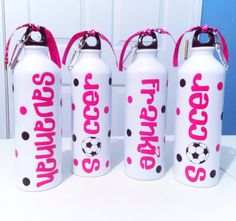 Personalized Team Sports Soccer Water Bottle by MakinItSassy, $9.00