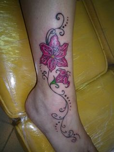 orchid flower tattoo ankle