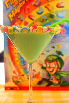 St. Patrick's Day Cocktail Magically Delicious Martini 2 oz Vodka 3 oz Light Cream 1 oz Creme De Menthe 1 oz White Creme De Cacao Pour ingredients into shaker filled with ice. Shake! Then pour into chilled martini glass. Rim the glass with Lucky Charms marshmallows. Put a few in the drink too! Recipe on this one.