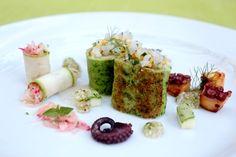 Linguado Verde, com Vinagrete de Ponzu e Rolinhos de Abóbrinha com Rabanete, Repolho e Maçã de Vico Crocco para Pop Up Restaurant