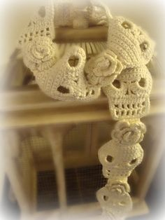 PDF PATTERN Skull and Roses Crochet Scarf by WickedCrochet71