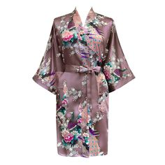 Kimono Short Robe - Peacock & Blossoms