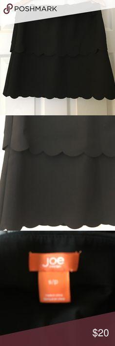 scalloped black mini skirt Form fitting scalloped skirt. Stretchy material. Black. Delicate scalloped detailing Joe Fresh Skirts Mini