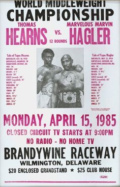 Hearns vs Hagler Boxing Match 1985 14″ x 22″ Vintage Style Poster