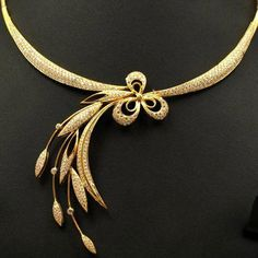 Elegant Gold Necklace – Jewellery Designs – Kurti Blouse – My All Pin Page Bijoux Design, Gold Jewellery Design, Schmuck Design, Gold Jewelry, Gold Necklace, Stylish Jewelry, Fashion Jewelry, Gold Earrings Designs, Gold Designs