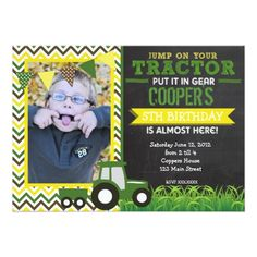 Green Chevron Tractor Birthday Party Invitation