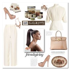 """Friends giving"" by exoduss ❤ liked on Polyvore featuring The Row, Emilia Wickstead, Louis Vuitton, Hermès, Kendra Scott, Williams-Sonoma, Mud Pie and friendsgiving"