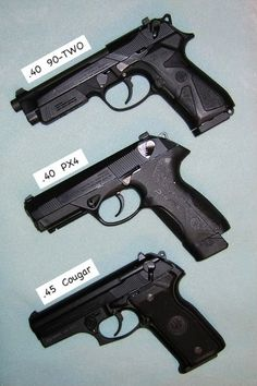 3 Beretta pistols: 90-two, Px4 and Cougar