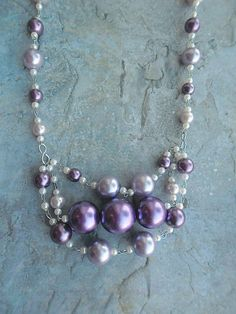 Homemade statement necklace / purple lilac ladies fashion accessories by JHFWBeadsAndFindings at #Etsy #EtsyShop #handmade #necklaces #jewelry #jewelery #jewellery #online #shopping
