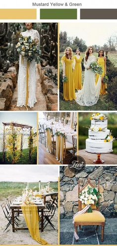 6 Unexpected Wedding Color Combos to Have Your Wedding Stand Out mustard yellow and greenery woodland wedding colors Mustard Yellow Wedding, Yellow Wedding Colors, Mustard Wedding Theme, Yellow Weddings, Wedding Themes, Wedding Styles, Wedding Decorations, Wedding Ideas, Wedding Color Combinations