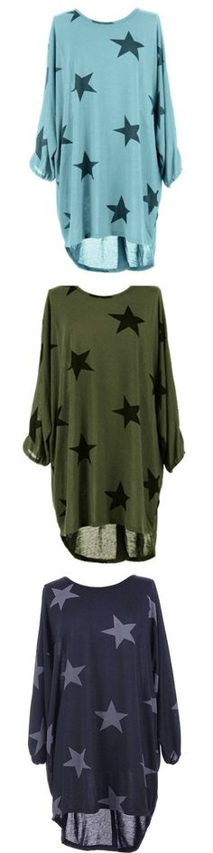 US$ 14.89 Casual Loose Plus Size Stars Printed O-Neck Half Sleeve Women Dresses