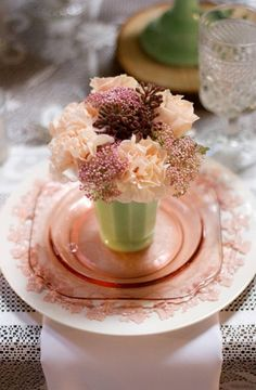 Vintage Wedgewood China and Pink depression glass #tableware #jadite