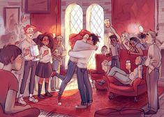 """atalienart: """" The kiss! (commission for LitJoy Crate) """" Estilo Harry Potter, Arte Do Harry Potter, Harry Potter Comics, Harry Potter Artwork, Harry Potter Ships, Harry Potter Drawings, Harry Potter Pictures, Harry Potter Fan Art, Harry Potter Universal"""