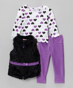 Take a look at this Purple & Black Belted Faux Fur Vest Set - Infant, Toddler & Girls by Young Hearts on #zulily today!