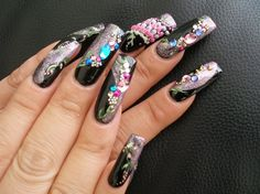 Black Jewels by nailscoco - Nail Art Gallery nailartgallery.nailsmag.com by Nails Magazine www.nailsmag.com #nailart