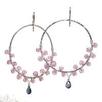 Mnemba 079 ~ Pink Ruby Cluster & Blue Topaz Hoop Earrings with Metal Choice