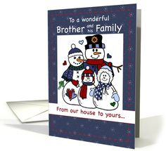 Snowman Holidays, Brother and Family card