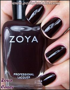 "Zoya casey. One of my favorite polishes! So glossy and ""juicy."" It does take three coats if you want it this dark though."