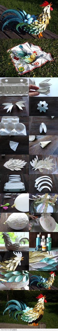 How to make a ROOSTER from an egg carton!