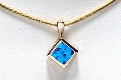 Electric Blue Quartz Ice Cut Gold Pendant by janeysjewels on Etsy, $250.00