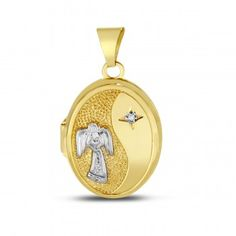 10K Yellow 17mm Oval Rhodium Guardian Angel Message Back Locket - Lockets - Gold and Silver - Jewelry - by Samuels Jewelers