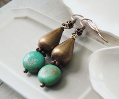 Vintage Style Earrings, Antique Copper and Aqua Earrings, Gift For Her, Stocking Stuffer by OceanaireDreamer on Etsy
