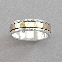 David Tishbi Hammered Yellow Gold Spinner Ring