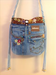 0b572f1dce OOAK denim purse made from recycled Dollhouse jeans.