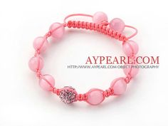 Pink Series 10mm Round Pink Cats Eye and Rhinestone Beads Adjustable Drawstring Bracelet