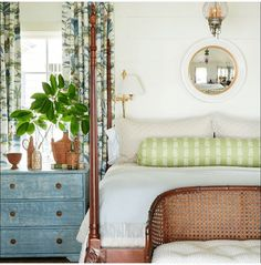 In Good Taste: Heather Chadduck Interiors Bedroom Retreat, Home Bedroom, Master Bedroom, Beautiful Bedroom Designs, Beautiful Bedrooms, Shiplap Boards, Blue And Green, Bedroom Images, Low Country