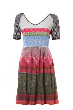 IVKO Scoop Neck Dress w High Stretch Waist, Light Gray, US 12 - EUR 42. Dress distinctively in the IVKO Short Sleeve Dress that features beautiful folk art inspired design and a flattering high-waist cut. Vibrant colors and knee-length design says you're ready for spring without sacrificing style; this dress is also available in Navy. Since every IVKO garment is individually handmade and hand-stitched, each and every piece is truly one-of-a-kind. Designed and realized in Serbia, IVKO…