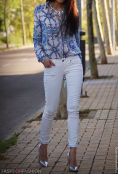 Beautiful blouse and silver accessories