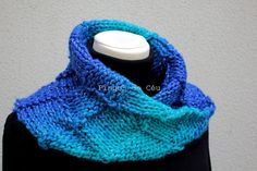 Knitted Neckwarmer in Hot Blue and Turquoise Scarf  by pingosdoceu